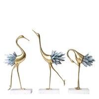 Арт деко дизайн хрустальный журавль украшения дома Меди настольная деко showroom ремесла