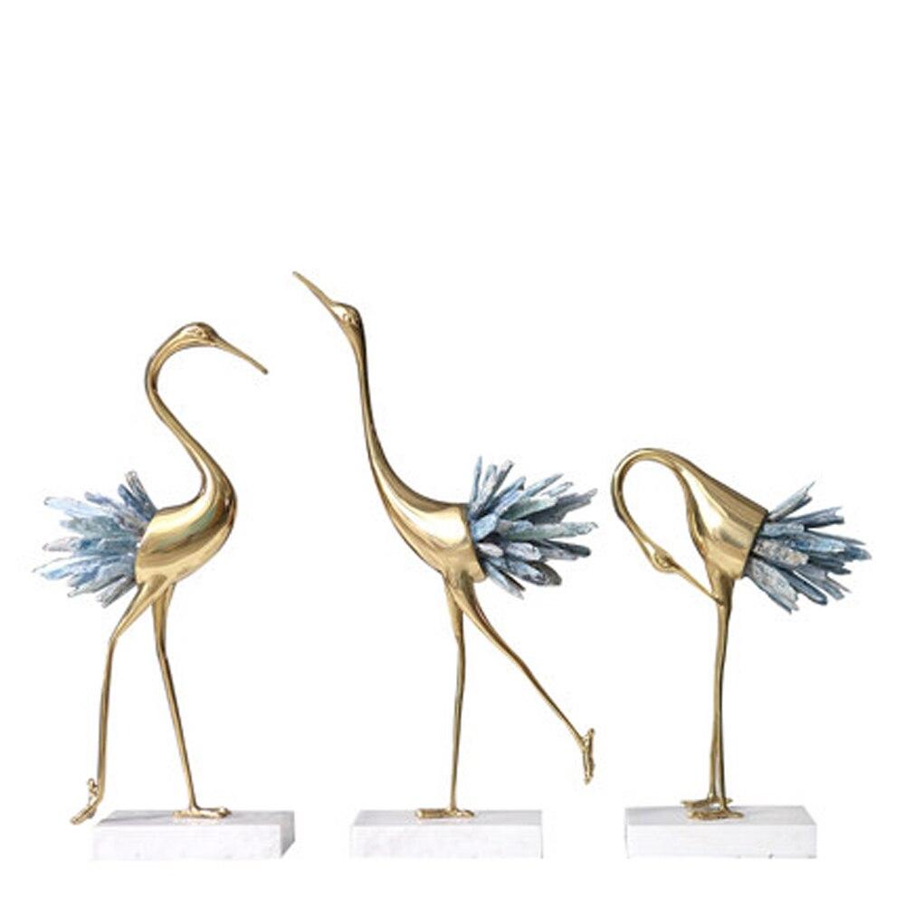 Art deco di disegno di cristallo gru decorazioni per la casa da tavolo in rame deco showroom artigianato-in Statuine e miniature da Casa e giardino su  Gruppo 1