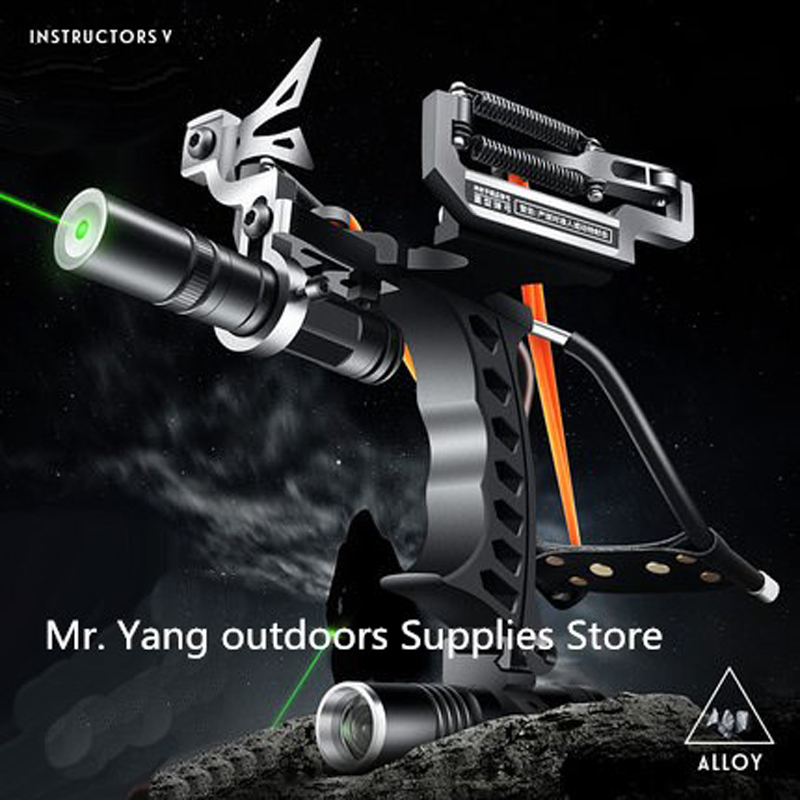 Outdoor Powerful Fishing Slingshot for Shooting Arrows Crossbow Bow Laser Slingshot Hunting Slingshot Catapult powerful titanium steel rubber band slingshot hunting outdoor portable competitive shooting archery fishing slingshot catapult