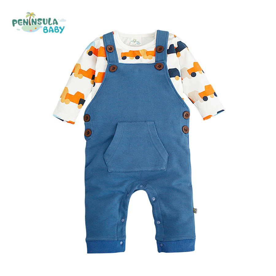 Cartoon Dinosaur Baby Clothes Set Autumn Long Sleeve T-Shirt+Cotton Overalls Infant Rompers Kids Toddler Jumpsuits Outerwear spring autumn baby cotton knit rompers baby girl long sleeve knitted overalls infant girl floral embriodery bebes infant clothes