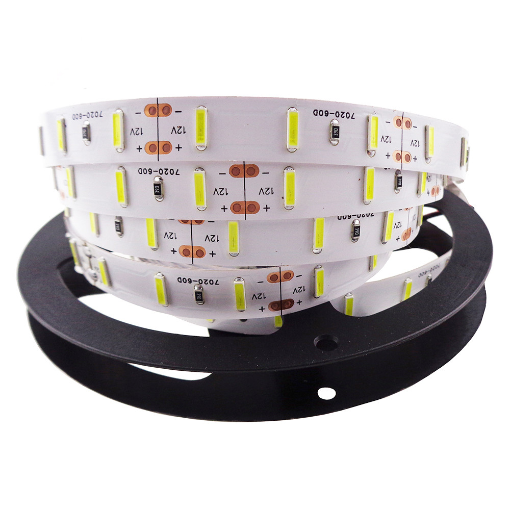 Free Shipping LED Strip 7020 Chips SMD 300leds DC12V Warm White 5M/lot Non-waterproof LED Flexible Ribbon Decoration Indoor