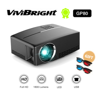 HD LED projector 1800 Lumens 4K Projector Android 6.0 LED WiFi Video Proyector GP80/GP80UP Portable Smart Projectors