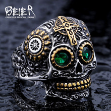 BEIER Cool Men's Gothic Carving Skull Ring For Man Stainless Steel High Quality Detail Biker Skull Jewelry For Boy BR8-327