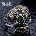 Beier hombres frescos gótico tallado skull biker anillo para hombre de acero inoxidable de alta calidad detalle cráneo joyería para niño br8-327