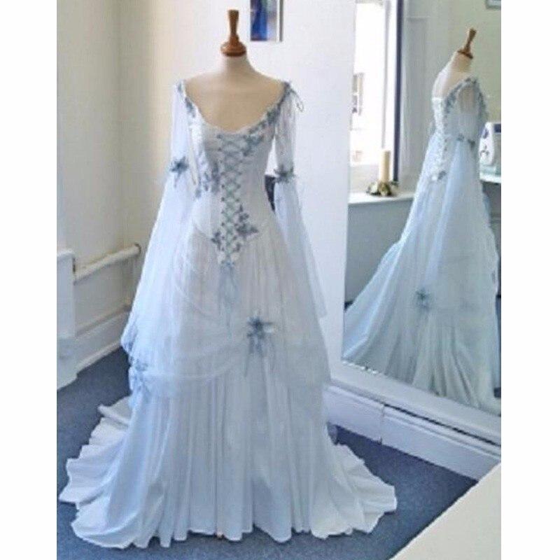 Super Vintage Abito Bianco Da Sposa Celtici e Pallido Blu Colorful  DD26