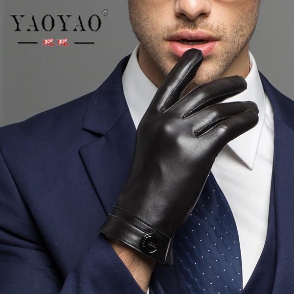 YY8101 LUXURY Man Genuine Leather Button Black Thick/Thin Gloves Male Commercial Business meeting MC Host Driving Suede Luvas