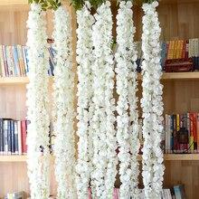 Popular Home Decor White Wisteria Flowers Vine Artificial Flower Plastic Garland Vine Artificial Flowers Wall