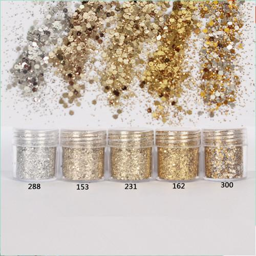 1 Box 10ml Nail art Glitter Powder Champagne Silver Ultra-thin (1mm) Nail Glitter Powder Nail Sequins Decoration #FA000011
