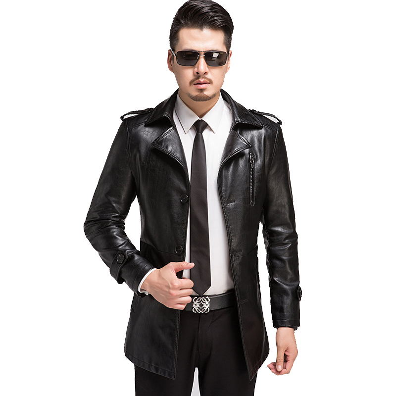 2018 winter high quality PU leather black trench coat men