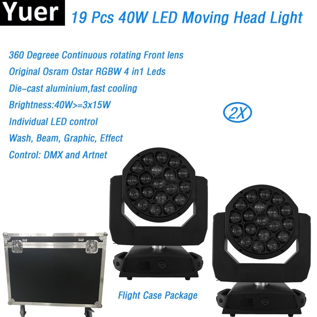 2Pcs/Lot FlightCase Big Bee Eye Moving Head Light wash beam gobo light with zoom Osram Ostar led lamp party show DJ Disco DMX512