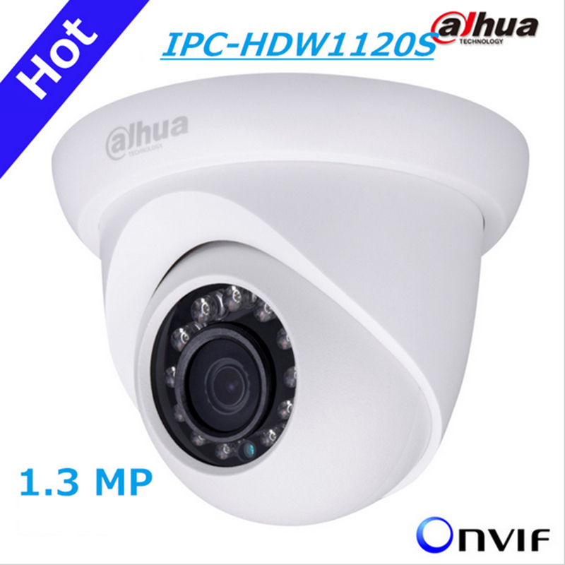 DAHUA IP Camera 1.3MP HD Network Small IR Eyeball Camera IPC-HDW1120S Support POE and Onvif English version Free shipping dahua original english version firmware upgradable ipc hdw1320s 3mp 1080p ip poe onvif dome ir network cctv security camera