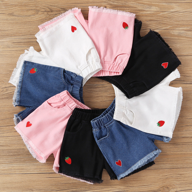 2019 NEW Summer Fashion Girls Soft Denim Pocket Short Jeans Pants Baby Casual Trousers Kids Shorts Children's Clothing 1