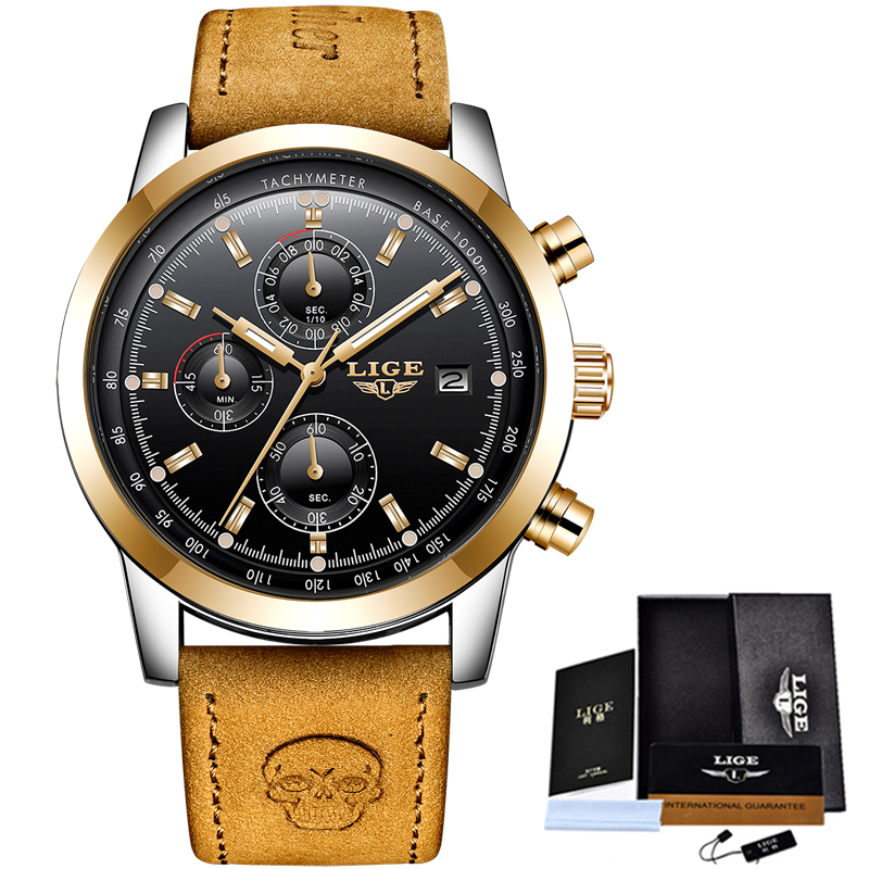 LIGE Mens Watches Top Brand Luxury Leather Casual Quartz Watch Men Military Sport Waterproof Clock Gold Watch Relogio Masculino watch women dom top luxury brand waterproof style sapphire crystal clock quartz watches leather casual relogio faminino g 86l 1m