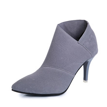 8cm High Heel Women Shoes Winter Boots Thin Heel Female Winter Autumn Shoes Footwear Black Gray Ladies Women Ankle Boots DC203 top brand unique design black suede boots back front lace up fastening dress boots trendy ladies footwear thin high heel shoes