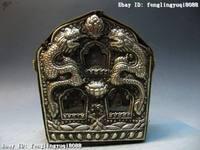 Tibet Buddhism Copper Bronze silver gilt Dragon TangKa Buddha Shrine Shrines Box