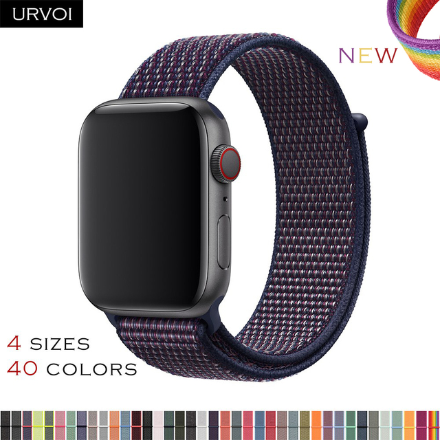 URVOI 2019 Sport loop for apple watch series 4 3 2 1 band reflective strap for iwatch double-layer woven nylon breathable