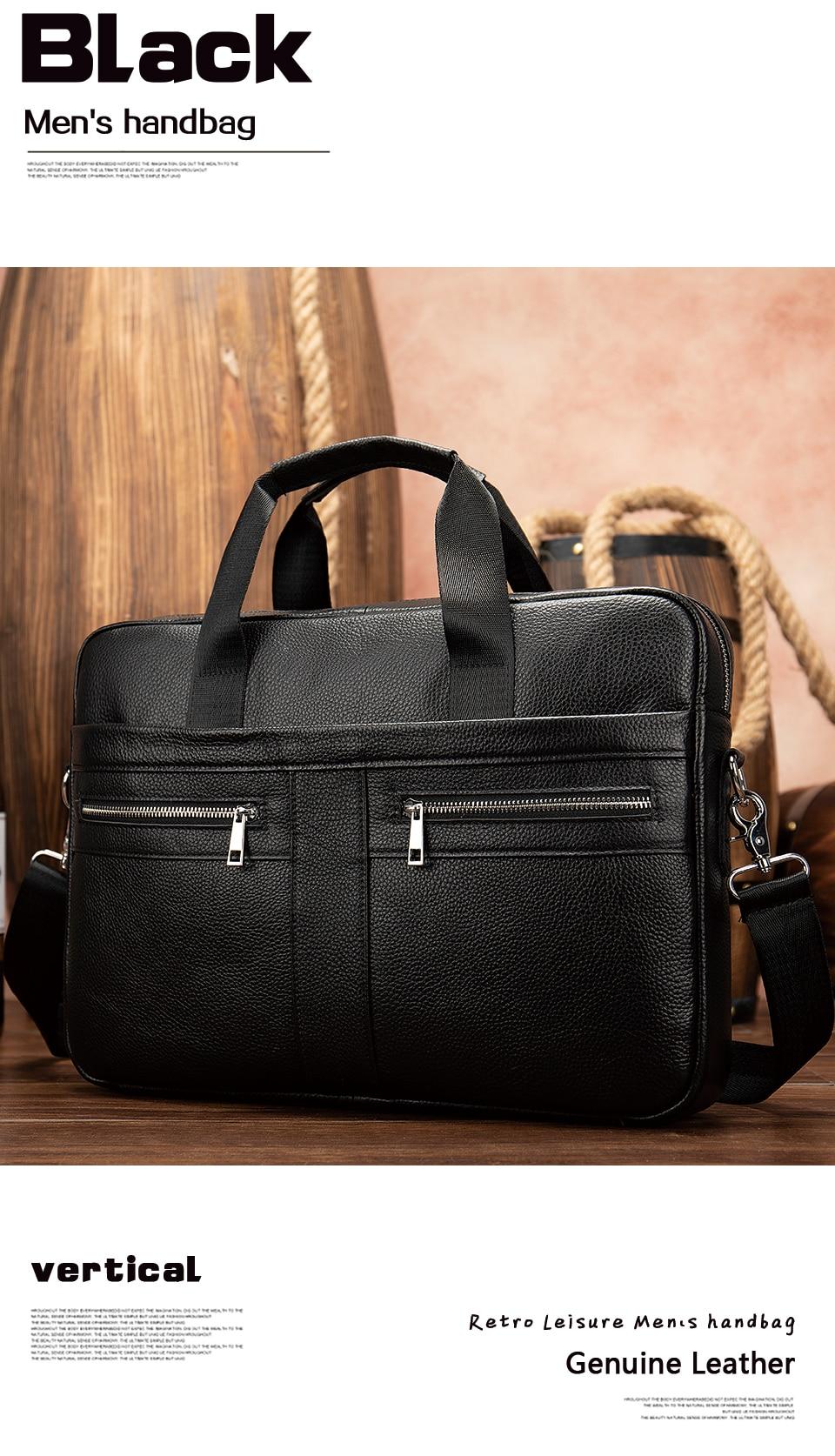 HTB1c 34RrrpK1RjSZTEq6AWAVXaV WESTAL Bag men's Genuine Leather briefcase Male man laptop bag natural Leather for men Messenger bags men's briefcases 2019
