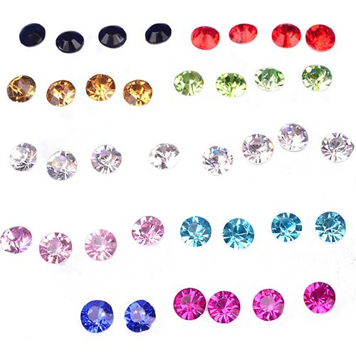 Hot 20 Pairs Women Shiny Rhinestone Allergy Free Ear Studs Fashion Earrings Gift