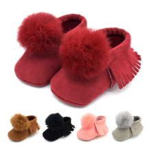 19 Autumn and Winter Boys Girls Fringed ball soft Bottom Baby Shoes 0-1 Years old toddler 5 color shoes