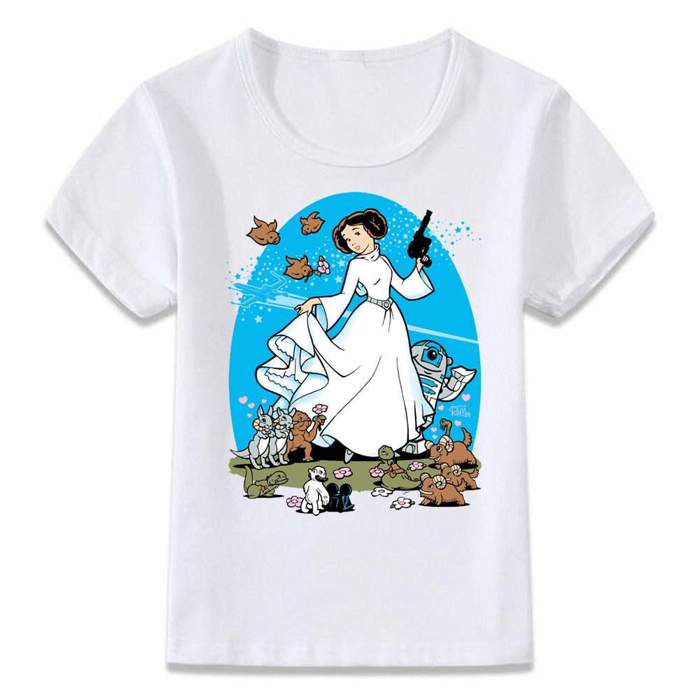 Kids Clothes T Shirt Princess Leia Ink Art T-shirt for Boys and Girls Toddler Shirts Tee oal109