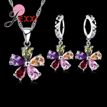 Five Petaled Flowers Shinning Colorful CZ Crystal Pendant Jewelry Sets 925 Sterling Necklace + Dangle/Hoop Earring Sets