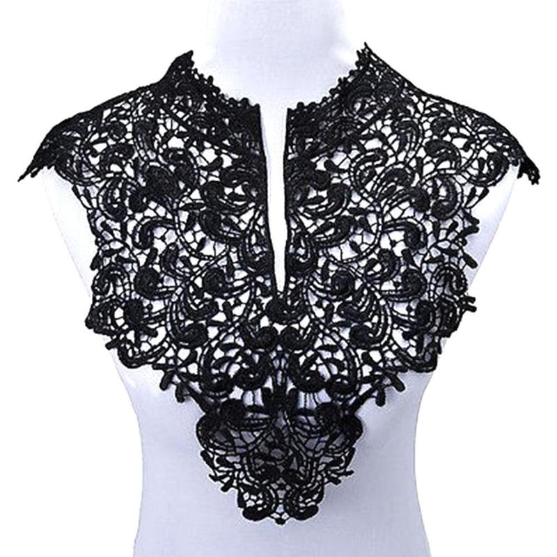 New Ladies Women Adult Black Floral Lace Detachable Elegant Fake Collar Fashion Solid Color False Neckwear Clothing Accessories