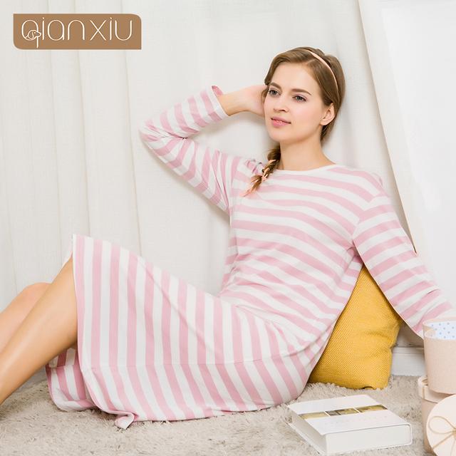 Qianxiu sleepwear para as mulheres listrado confortável com bolsos outono populares para as mulheres