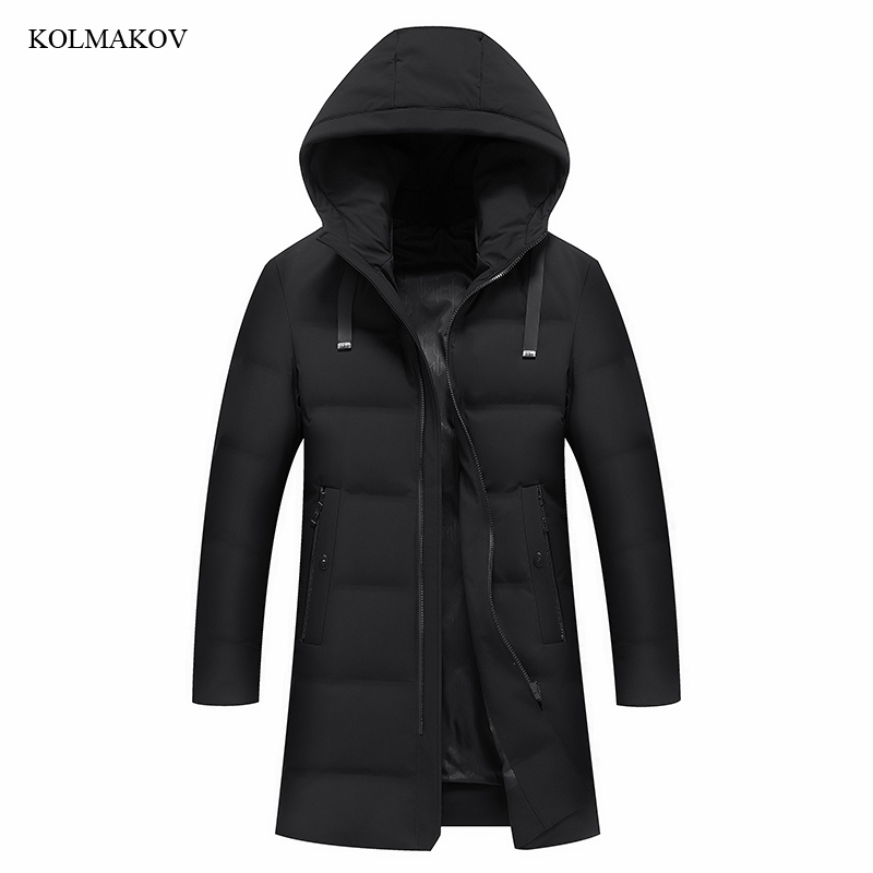 2018 New Style Men Boutique Leisure   Down     Coats   Fashion Casual Hooded Solid Warm White Duck Long   Down     Coat   Clothes Size M-4XL