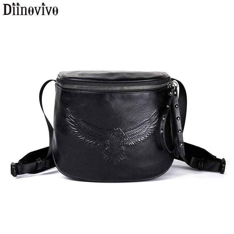DIINOVIVO Rock Eagle Shoulder Bag Hip Hop Small Crossbody Bags For Women Black Leather Rivet Zipper Pouch WHDV1182