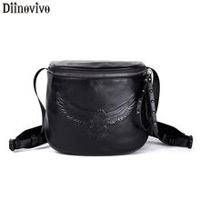DIINOVIVO Rock Eagle Shoulder Bag Hip Hop Small Crossbody Bags For Women Black Leather Rivet Zipper Pouch WHDV1182
