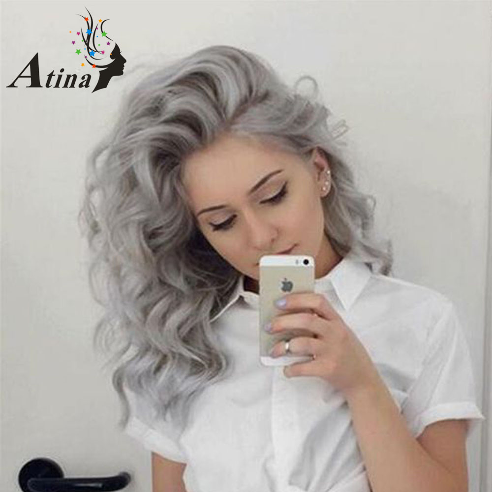 Wavy Grey Human Hair Lace Front Wig Remy Brazilian Virgin Hair Short Lace Wig Remy Loose Deep Wave Pre Plucked Gray Silver Wig