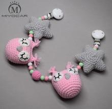 MIYOCAR handmade wood clip gray pink Crochet toy stroller chain for pram mobile rattle wooden bead crochet