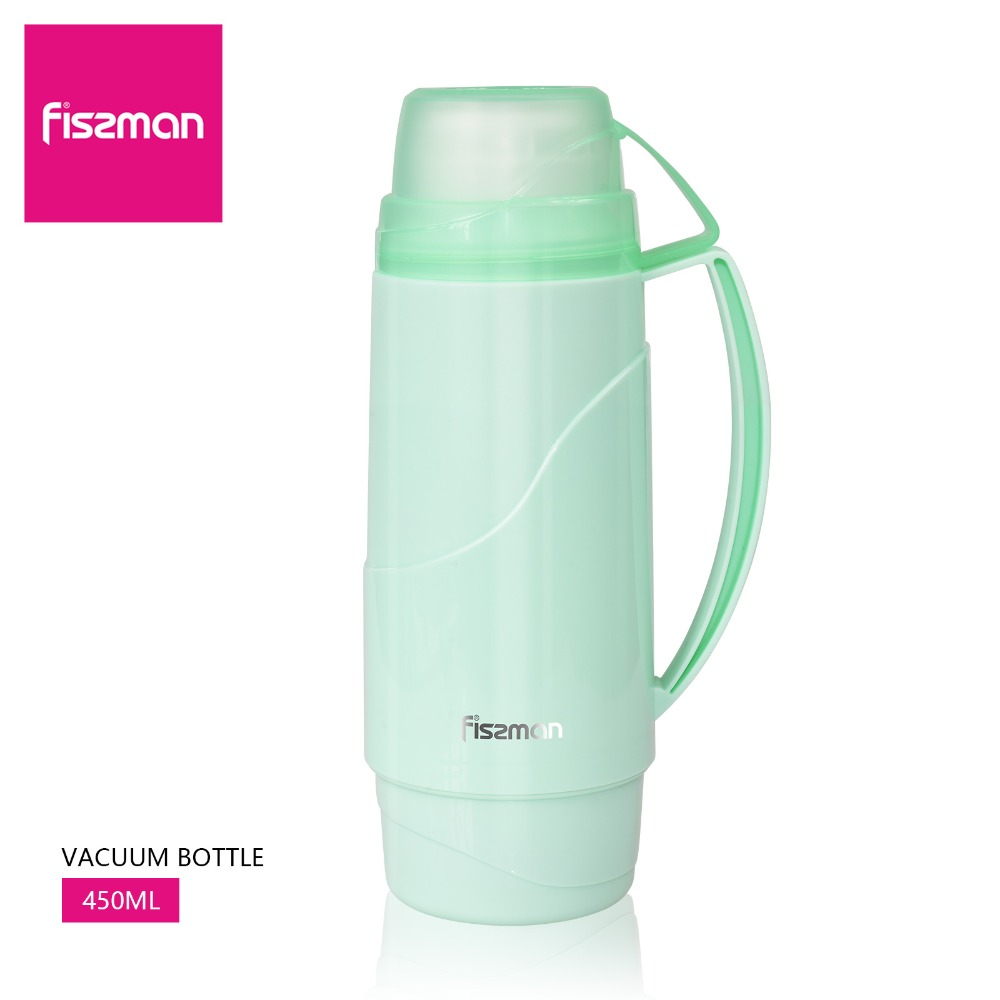 Fissman 450ml Vacuum Bottle With Double Cups Design Light Green Thermal Flask