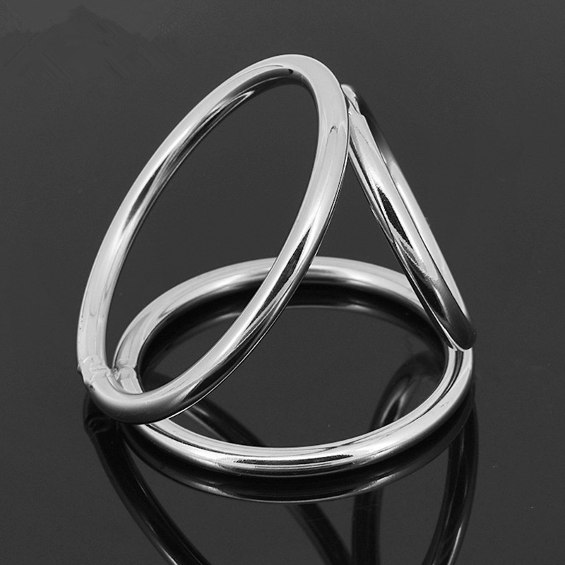 Penis Ring Stainless Steel Metal 3-loops Chastity Lock Penis Clamp Cock Ring Cock Clamp Adult Game Sex Toys for Male G7-1-29