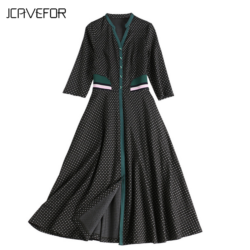 Office Robes Col Automne Robe De Polka Dot taille ligne Manches 2018 Sept Rétro Haute Lady A point V Femmes Mode TR8nHq1