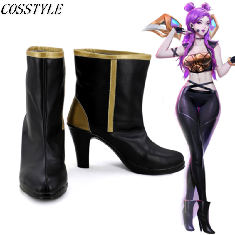 KDA Kaisa Cosplay Shoes LOL K/DA Cosplay High-Heeled Shoes for Women Game LOL Kaisa Cosplay Boots Black Gloden Custom Made