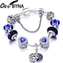 OCTBYNA, звездное небо, серебряная цепочка, очаровательный браслет для женщин, романтичный синий браслет с бусинами, браслет, Брендовое ювелирное изделие, подарок для девочки