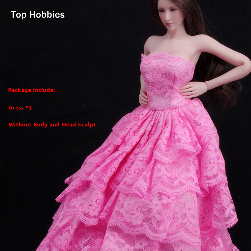 <font><b>1/6</b></font> <font><b>Scale</b></font> <font><b>Female</b></font> <font><b>Clothes</b></font> Accessories Lace Pink Wedding Evening Dress Clothing Strapless Dress Fit 12 Inch Body action Figure image