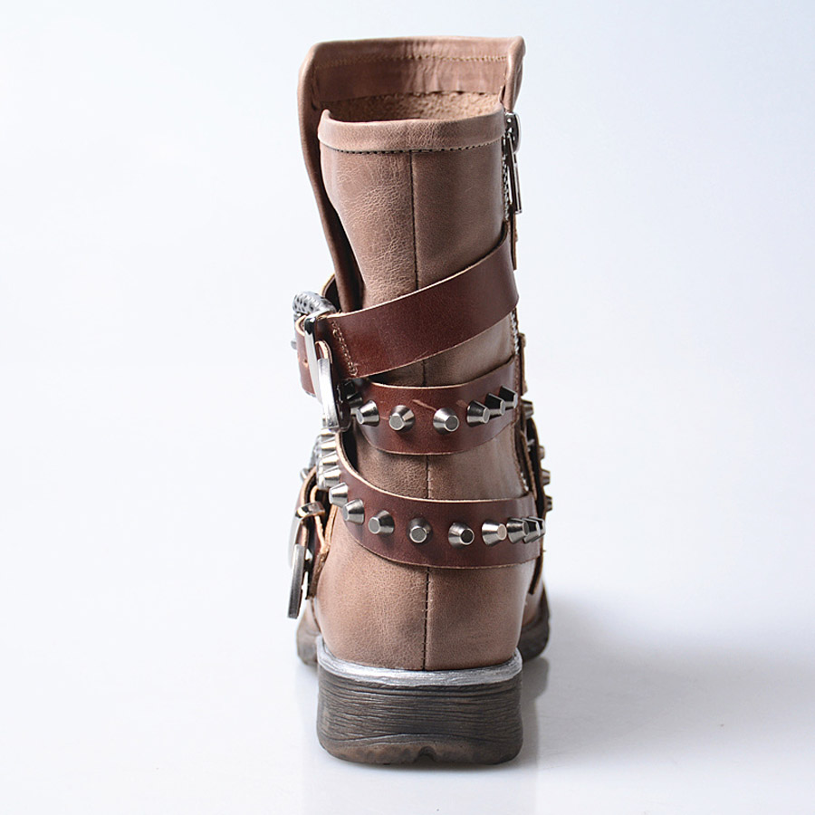 Prova Plate Plush Sangle In Cuir Knigh Appartements Leather Perfetto Femme  Punk Véritable forme Bottes Date ... 29b5c9c81c90