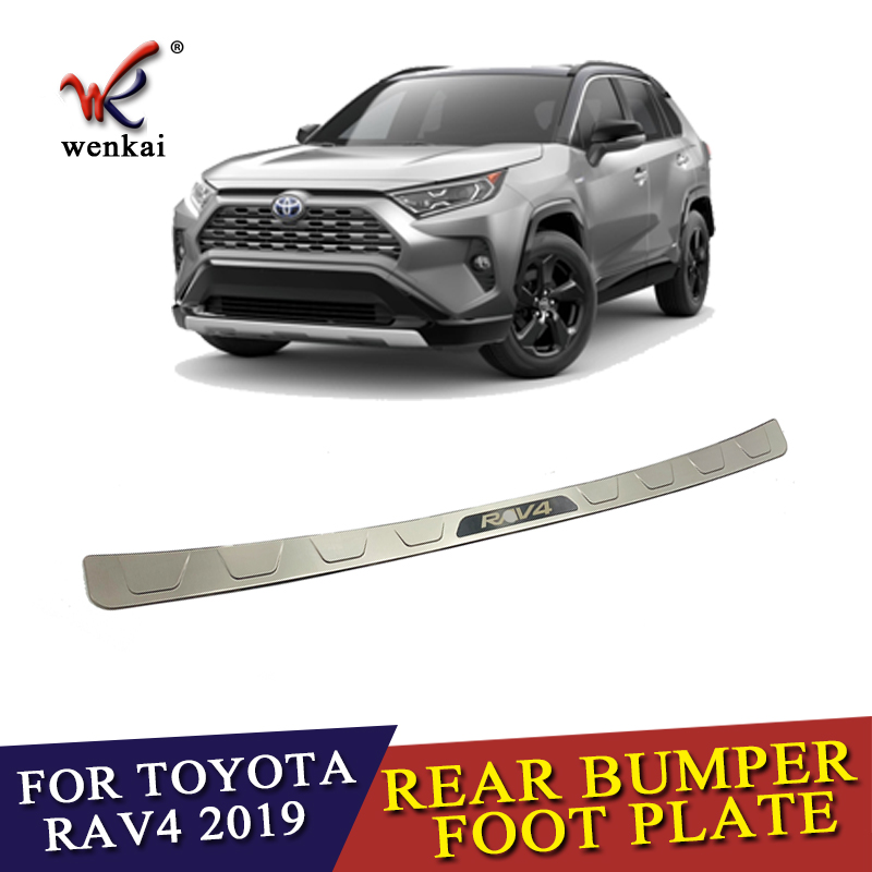 Stainless Steel Outer Rear Trunk Boot Bumper Guard Sill Plate For Toyota RAV4 2019 2020 Rear