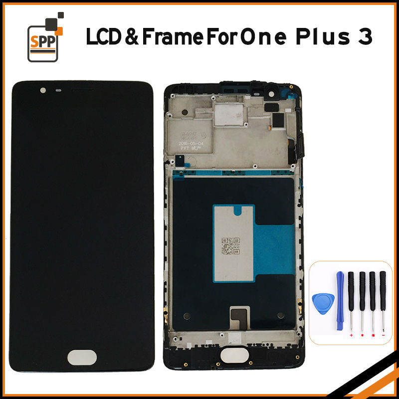 LCD screen replacement for Oneplus One Plus 3 LCD display touch digitizer frame complete assembly repair pantalla black white lcd screen assembly for apple iphone 4 4g lcd display touch screen digitizer pantalla with frame bezel replacement black white