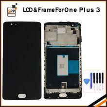 ЖК-экран замена для Oneplus One Plus 3 ЖК-дисплей сенсорный дигитайзер рамка полная сборка ремонт экран черный белый