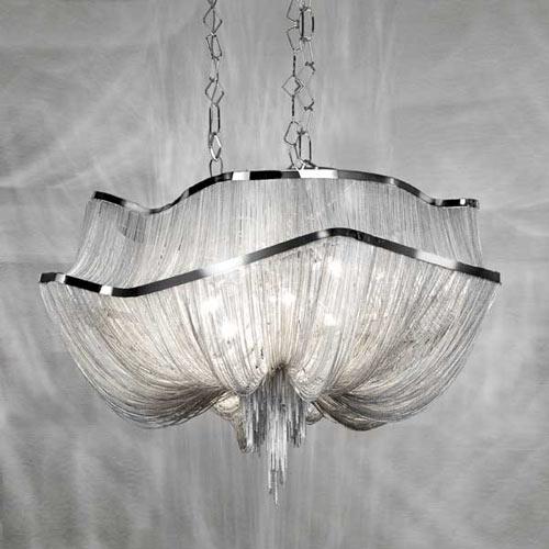 Französisch Aluminium Kette quaste Kronleuchter Licht Leuchte Reich Vintage Hängen Suspension Glanz Kette Anhänger Lampe Drop Licht
