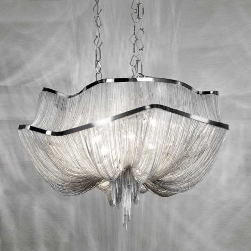 French Aluminum Chain tassel Chandelier Light Fixture Empire Vintage Hanging Suspension Lustre Chain Pendant Lamp Drop Light