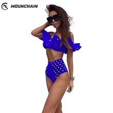 2019 Brazilian Women Fashion Over Size Boat Neck Flounce Sleeves Swimming Suit недорого