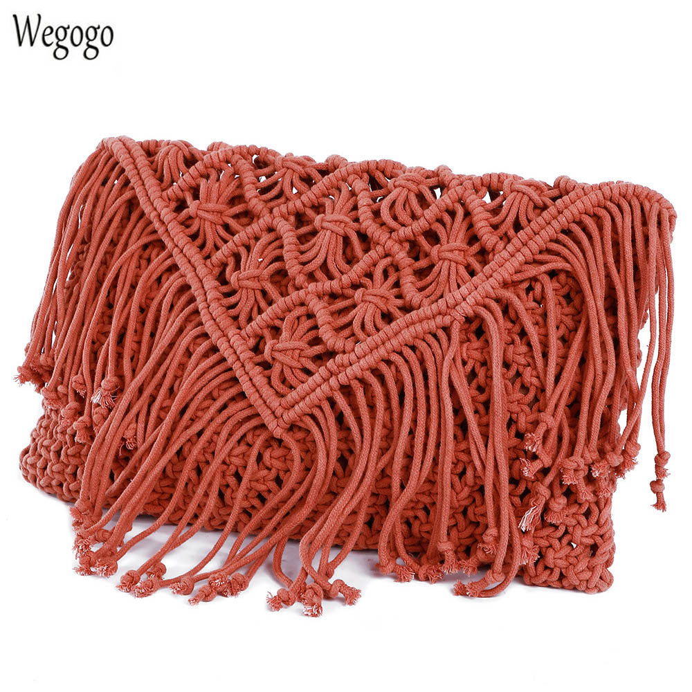Women Messenger Bag Handmade Crochet Braid Fringed Tassel Cross Knitted Handbag Beach Bag Bohemian Travel Shoulder Messenger Bag fringed crochet tank top