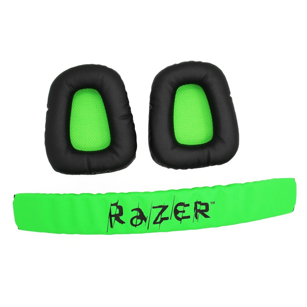 Replacement Top Headband Plastic Head Band Parts + Ear Pads Cushion For Razer Kraken Pro 7.1 or Electra Gaming PC Headphones