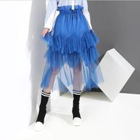 Korean version spring autumn Empire female blue Mesh Ruffles skirt fashion Mid Calf causal Ball Gown woman skirt Streetwear skir