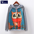 Fashion Spring Autumn Long Sleeve Women Sweatshirt Harajuku Owl Print Hoodies 2017 Hooded Tracksuit Jumper Pullovertops Hot sale