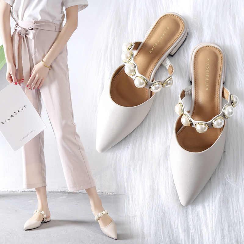 A spillo Piatto con la suola Pistoni di Estate Femminile 2019 Nuovo Stile Pantofole Femminile Retro-stile Pantofole con tacchi Grezzi e tacchi bassi